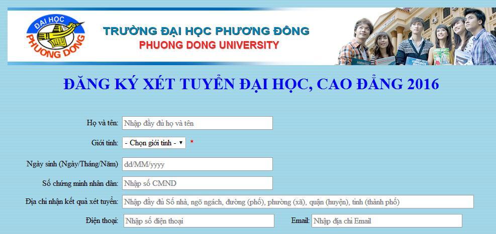 Đăng ký xét tuyển ĐH, CĐ bằng Học bạ trực tuyến (Online)